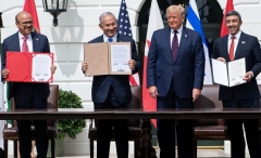 President Trump hosts the signing of the Abraham Accords where the countries of Bahrain and the United Arab Emirates recognize Israel, at the White House on Sept. 15, 2020.(Photo by SAUL LOEB/AFP via Getty Images)