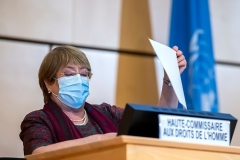 U.N. High Commissioner for Human Rights Michelle Bachelet opens the Human Rights Council session in Geneva on Monday. (Photo by Martial Trezzini/Pool/AFP via Getty Images)