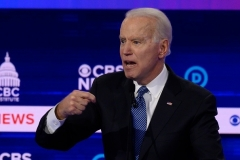 The Democratic presidential debate in Charleston, S.C. on February 25 is believed to be the first time Joe Biden spoke publicly about the need for U.S. health experts to get into China, where the coronavirus outbreak first emerged.  (Photo by Jim Watson/AFP via Getty Images)