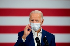 Democratic presidential candidate Joe Biden delivers remarks in Manitowoc, Wisconsin, on September 21, 2020. (Photo by JIM WATSON/AFP via Getty Images)