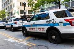 Chicago Police Department vehicles are seen vandalized during a demonstration in response to the killing of George Floyd. (Photo credit: Natasha Moustache/Getty Images)