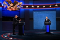 President Trump and former Vice President Joe Biden spar during the presidential debate in Cleveland, Ohio on Tuesday night. (Photo by Jim Watson/AFP via Getty Images)