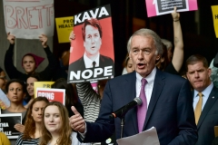 U.S. Sen. Ed Markey (D-MA), who has called for nixing the filibuster and expanding the Supreme Court, speaks at Boston City Hall to protest the the nomination of Brett Kavanaugh to the U.S. Supreme Court. (Photo credit: Paul Marotta/Getty Images)