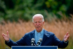 Democratic presidential candidate Joe Biden speaks outside the Delaware Museum of Natural History in Wilmington, Delaware, on September 14, 2020. - Biden remarked on the ongoing wildfires and the urgent need to address the climate crisis. (Photo by JIM WATSON/AFP via Getty Images)