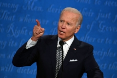 Democratic Presidential candidate and former US Vice President Joe Biden speaks during the first presidential debate at the Case Western Reserve University and Cleveland Clinic in Cleveland, Ohio on September 29, 2020. (Photo by JIM WATSON/AFP via Getty Images)