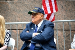 President Donald Trump's lawyer and former New York City mayor Rudy Giuliani attends a 9/11 memorial service at Zuccotti Park on September 11, 2020 in New York City. The remembrance ceremony marked the 19th anniversary of the September 11, 2001 terrorist attacks. (Photo by Noam Galai/Getty Images)