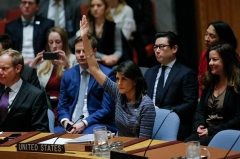 Ambassador to the U.N. Nikki Haley votes for a Security Council resolution imposing the toughest sanctions in history on North Korea, in December 2017. (Photo by Kena Betancur/AFP via Getty Images)