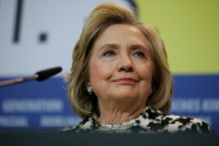 """Former U.S. Secretary of State and First Lady Hillary Rodham Clinton addresses a press conference for the film """"Hillary"""" screened in the Berlinale Special category at the 70th Berlinale film festival on February 25, 2020 in Berlin. (Photo credit: DAVID GANNON/AFP via Getty Images)"""
