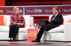 Former U.S. Secretary of State Hillary Clinton is interviewed by Jeffrey Goldberg, editor-in-chief, The Atlantic, at The Atlantic Festival on Oct. 2, 2018. (Photo credit: Paul Morigi/Getty Images)