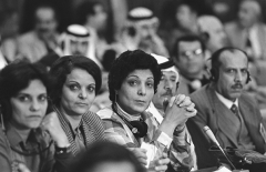 Leila Khaled, center, at a Palestinian National Council meeting in Algiers in 1983. (Photo by Alain Nogues/Sygma/Sygma via Getty Images)
