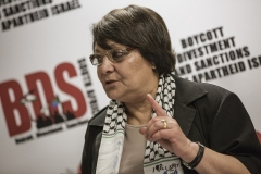 PFLP hijacker Leila Khaled in 2015. (Photo by Gianluigi Guercia/AFP via Getty Images)