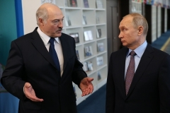 Belarusian President Alexander Lukashenko with Russian President Vladimir Putin at a previous meeting in Sochi. (Photo by Mikhail Svetlov/Getty Images)