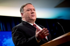 Secretary of State Mike Pompeo speaks at a news conference at the State Department on Apr. 29, 2020. (Photo credit: ANDREW HARNIK/POOL/AFP via Getty Images)