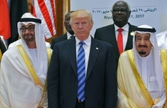 President Trump is flanked by Saudi King Salman and UAE Crown Prince Mohammed bin Zayed at a summit in Riyadh in 2017. (Photo by Mandel Ngan/AFP via Getty Images)