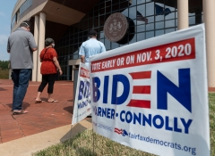 Voters wait in line to cast their ballot at an early voting location in Fairfax, Va. on Sept. 18, 2020. - Early in-person voting for the 2020 general election kicked off on Sept. 18, 2020 in Virginia. (Photo credit: ANDREW CABALLERO/REYNOLDS/AFP via Getty Images)