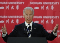 Then-Vice President Joe Biden speaks at Sichuan University in Chengdu on August 21, 2011. (Photo by PETER PARKS/AFP via Getty Images)