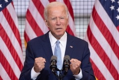 Democrat presidential nominee Joe Biden speaks during a campaign event in Pittsburgh, Pennsylvania, August 31, 2020. (Photo by SAUL LOEB/AFP via Getty Images)