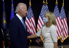 Democratic presidential nominee Joe Biden and his wife Jill Biden after the first Biden-Harris press conference in Wilmington, Delaware, on August 12, 2020. (Photo by Olivier DOULIERY/AFP via Getty Images)