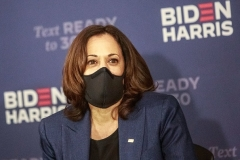 Democrat vice presidential nominee and Senator from California Kamala Harris. (Photo by KEREM YUCEL/AFP via Getty Images)