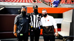 Washington Football Team's coaching intern Jennifer King, NFL official Sarah Thomas, and Cleveland  Browns' chief of staff Callie Brownson (l-r)