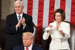 House Speaker Nancy Pelosi rips up her copy of President Trump's speech as he concludes his State of the Union address on February 4, 2020. (Photo by Mandel Ngan/AFP via Getty Images)