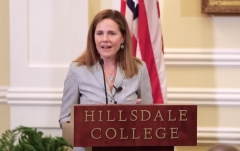 Judge Amy Coney Barrett gives a speech at Hillsdale College. (Photo credit: YouTube/Hillsdale College)