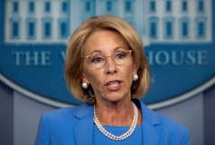 Education Secretary Betsy DeVos speaks at a press conference. (Photo credit: JIM WATSON/AFP via Getty Images)