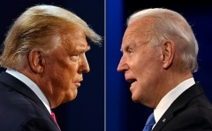 President Trump and Democratic presidential nominee Joe Biden at Thursday's debate in Nashville, Tenn. (Photos by Morry Gash and Jim Watson/AFP via Getty Images)