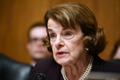 "U.S. Senator Dianne Feinstein speaks as U.S. Attorney General William Barr prepares to testify before the Senate Judiciary Committee on ""The Justice Department's Investigation of Russian Interference with the 2016 Presidential Election."" (Photo credit: MANDEL NGAN/AFP via Getty Images)"