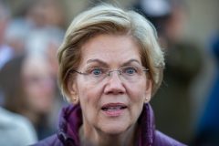 Democratic presidential candidate Massachusetts Sen. Elizabeth Warren announces the suspension of her presidential campaign in front of her Cambridge, Massachusetts home on March 5, 2020. (Photo credit: AMANDA SABGA/AFP via Getty Images)