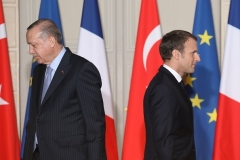 Turkish President Recep Tayyip Erdogan and his French counterpart, Emmanuel Macron, in Paris in 2018. (Photo by Ludovic Marin/AFP/Getty Images)