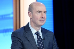 """Labor Secretary Eugene Scalia is interviewed by Dagen McDowell during FOX Business Network's """"Mornings With Maria."""" (Photo credit: John Lamparski/Getty Images)"""