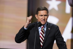 Retired Lt. Gen. Michael Flynn delivers a speech on the first day of the Republican National Convention on July 18, 2016. (Photo credit: Brooks Kraft/Getty Images)