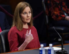 Supreme Court nominee Judge Amy Coney Barrett speaks during the second day of her Senate Judiciary committee confirmation hearing on Capitol Hill on October 13, 2020 in Washington, DC. - President Donald Trump's US Supreme Court nominee Amy Coney Barrett faces a sharply divided Senate October 13, 2020 for her first question-and-answer session, with Republicans praising her faith and qualifications and Democrats set to bombard her over healthcare. (Photo by KEVIN DIETSCH