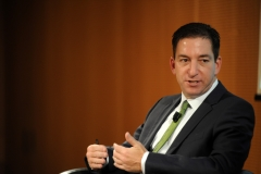 """Glenn Greenwald speaks during the presentation of his book """"No Place to Hide: Edward Snowden, The NSA, And The U.S. Surveillance State"""" on May 26, 2014 in Milan, Italy. (Photo credit: Pier Marco Tacca/Getty Images)"""