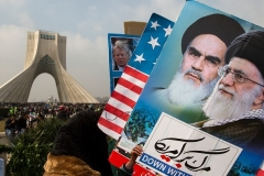 Pro-regime Iranians demonstrate against President Trump in Tehran. (Photo by Majid Saeedi/Getty Images)