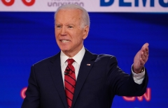 Former Vice President Joe Biden speaks at a Democratic debate. (Photo credit: MANDEL NGAN/AFP via Getty Images)