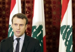 Emmanuel Macron in Beirut on a previous visit to Lebanon. (Photo by Joseph Eid/AFP via Getty Images, File)