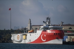 The Turkish seismic research vessel Oruc Reis. (Photo by Ozan Kose/AFP via Getty Images)