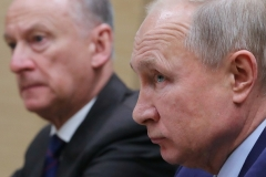 Russian President Vladimir Putin and Russian Security Council secretary Gen. Nikolai Patrushev. (Photo by Mikhail Klimentyev/Sputnik/AFP via Getty Images)
