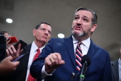 Sen. Ted Cruz speaks to the media during a recess in the impeachment trial of President Donald Trump. (Photo credit: MANDEL NGAN/AFP via Getty Images)