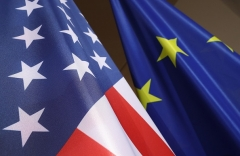 The U.S. and European Union flags on display in Germany. (Photo by Sean Gallup/Getty Images)