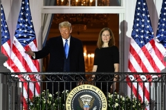 Newly confirmed Supreme Court Justice Amy Coney Barrett joined President Trump on the Truman Balcony after she was sworn in by Justice Clarence Thomas at the White House on Monday, October 26, 2020. (Photo by BRENDAN SMIALOWSKI/AFP via Getty Images)
