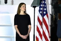 Judge Amy Coney Barrett is sworn in as a Supreme Court Associate Justice during a ceremony at the White House October 26, 2020. (Photo by BRENDAN SMIALOWSKI/AFP via Getty Images)