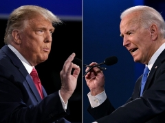 President Donald Trump and his Democrat challenger Joe Biden face off at their final debate on Oct. 22 in Nashville. (Photo by BRENDAN SMIALOWSKI,JIM WATSON/AFP via Getty Images)