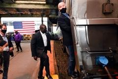 Democrat presidential candidate Joe Biden boards his train in Pittsburgh, Pennsylvania, on September 30, 2020. (Photo by ROBERTO SCHMIDT/AFP via Getty Images)