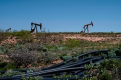 Oil production in Eddy County, New Mexico, where Permian Basin Crude oil extraction is one of the main economic drivers of thes area. (Photo by PAUL RATJE/AFP via Getty Images)