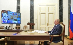 Russian President Vladimir Putin holds a virtual cabinet meeting on Wednesday. (Photo: The Kremlin)