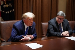 President Donald Trump meets with Attorney General William Barr at the White House on September 23, 2020. (Photo by MANDEL NGAN/AFP via Getty Images)