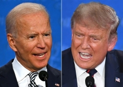 Democrat Joe Biden and President Donald Trump at their first debate on Sept. 29. (Photo by Jim Watson/AFP via Getty Images)